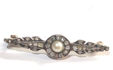 Antique rose diamond and pearl gold and silver brooch measur...