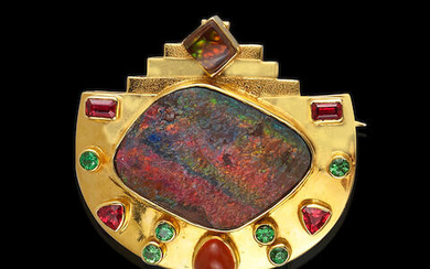 Boulder Opal and Fire Agate Brooch