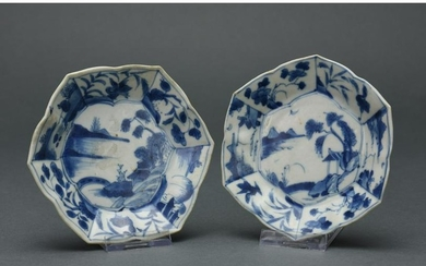 CHINES BLUE AND WHITE HEXAGONAL PLATES