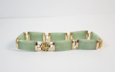 CHINESE JADE AND FOURTEEN KARAT GOLD LINK BRACELET