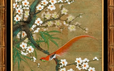 CHINESE PAINTING ON PAPER Depicting an exotic long-tailed songbird perched on a flowering tree branch entwined with bamboo. Signed a...