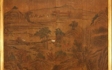 CHINESE PAINTING ON SILK MOUNTED ON BOARD