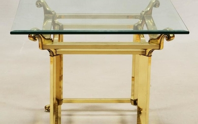 CONTEMPORARY BRASS FINISH & GLASS TOP END TABLE