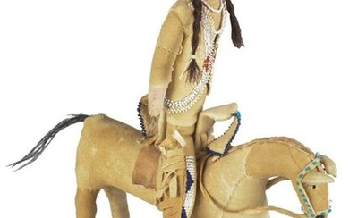 CROW INDIAN WARRIOR DOLL ON HORSE.
