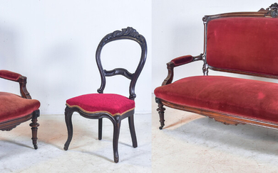 Carved walnut Victorian Eastlake sofa and matching armchair