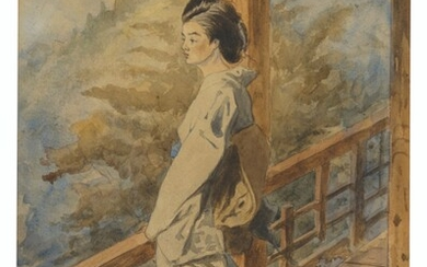Charles Wirgman (1832-1891), A Japanese woman on a balcony; and An interior with three Japanese women