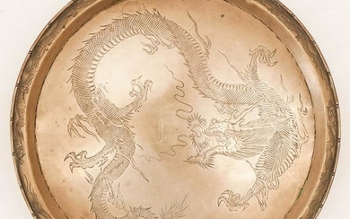 Chinese 19th Cent. Export Silver Dragon Salver 12.5''.