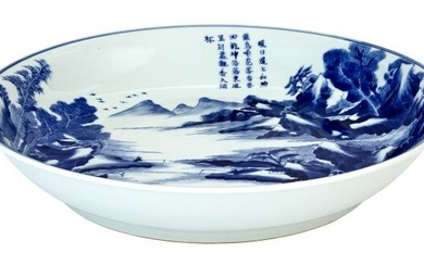 Chinese Blue and White Glazed Porcelain Charger