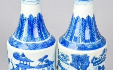 Chinese Canton Blue & White Porcelain Pitchers