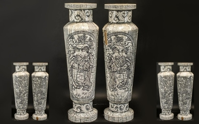 Chinese Modern Bone Stands with Incised and Carved Decoratio...