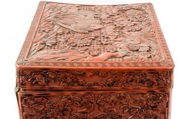 Chinese Red Carved Cinnabar Lacquer Box