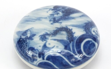 Chinese blue and white porcelain rouge seal box and cover, h...