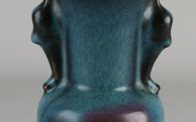 Chinese porcelain celadon vase with blue-green crackle