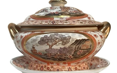 Chinese porcelain tureen with platter and landscapes