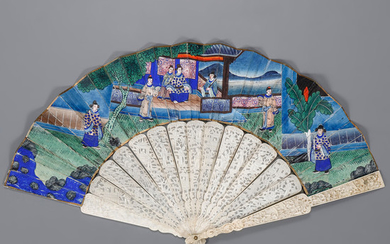 "Chinese ""the thousand faces"" fan, second half of the 19th Century."