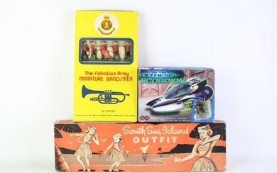 Collection of Vintage Toys incl. Salvation army miniature bandsmen, Lindsay & Bros South sea Island Outfit and others