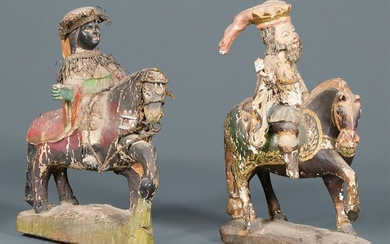 Continental Carved, Polychromed Wood Figures