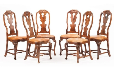 Continental Carved Walnut Side Chairs