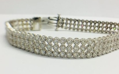 DIAMOND 3 ROW LINE BRACELET , 9CT WHITE...