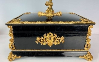 DORE BRONZE MOUNTED EBONY WOOD CASKET CIRCA 1900