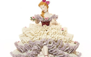 DRESDEN LACE FIGURINE, LADY SITTING HOLDING FLOWER