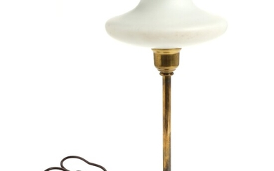 NOT SOLD. Danish design: A brass table lamp mounted with white opal glass shade. 1950s....