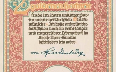 """Decorative document in the name of the President of the Empire """"To the rare celebration of the golden wedding"""". Lithograph by J.M. Avenarius with blind embossed imperial eagle and Hindenburg's signature in the stone. Around 1930. framed in wooden frame..."""