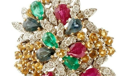 Diamonds, Rubies, Emeralds, Sapphires, White Gold Ring