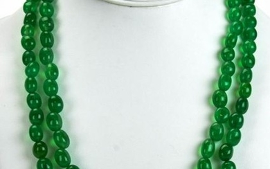 Double Strand Necklace w Tumbled Emerald Beads