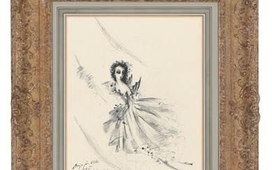 English School, 20th century, Costume design for a 'Wilis' in Giselle