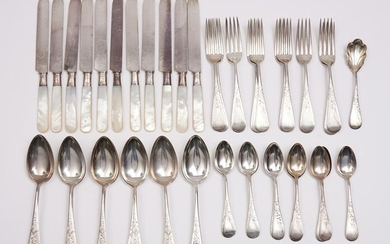 Ensembled Set of Victorian Sterling Silver Flatware, 12