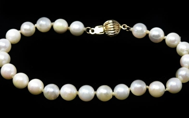 Estate 14kt Yellow Gold Cultured Pearl Bracelet