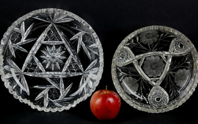 FINE PAIR OF AMERICAN CUT GLASS SERVICE TRAYS