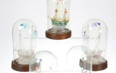 FIVE VICTORIAN GLASS FRIGGERS, each as a ship and under