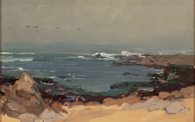 "FRANZ ARTHUR BISCHOFF (AMERICAN, 1864�1929) OIL ON CANVAS BOARD H 13"" W 19"" CALIFORNIA SEA SCAPE"