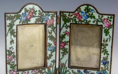French Enamel Guilloche Floral Dual Picture Frame