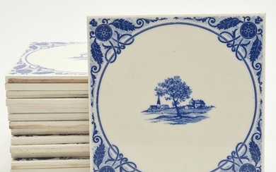 French Gien Large Set of Faience Hand Painted Tiles.