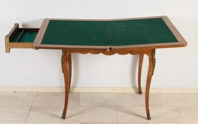 French rosewood marquetry game table with drawer +