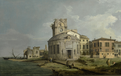 GIOVANNI ANTONIO CANAL, CALLED CANALETTO | A VENETIAN CAPRICCIO VIEW OF AN OVAL CHURCH BESIDE THE LAGOON