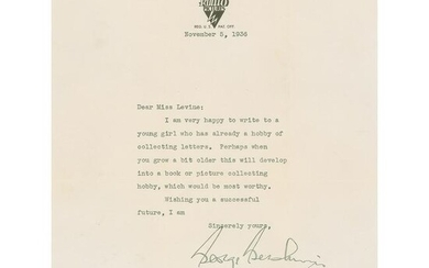 George Gershwin Typed Letter Signed