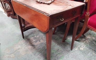 George III Mahogany Pembroke Table, fitted with a drawer & on tapering legs