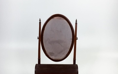 Georgian-style Inlaid Mahogany Dressing and Writing Stand, England, 19th century, oval swing plate on squared supports with brass finia