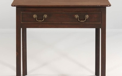 Georgian-style Mahogany Side Table, England, 19th century, single drawer with brass bail pulls, squared legs, ht. 28, wd. 29 1/2, dp. 2