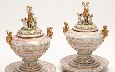 German Porcelain Polychrome Covered Compote Pair.