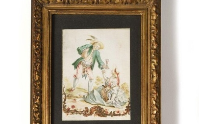 """German School of the late 18th century Galant Scene Gouache on vellum 11.3 x 8.3 cm (at sight) Back cover with a consignment dated """"19 April 1801""""."""