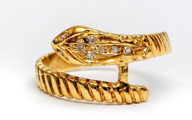 Gold snake ring, head set with small diamonds,...