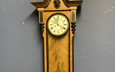 Good quality walnut glass fronted wall clock with ebonised ...