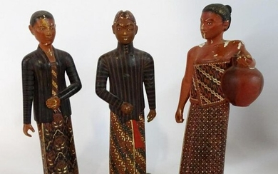"""HAND CARVED & PAINTED SOUTH EAST ASIAN FIGURES 9""""H"""