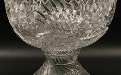LARGE AMERICAN BRILLIANT CUT GLASS PUNCH BOWL ON STAND