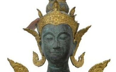 LARGE THAI GILT BRONZE BUDDHIST FIGURE THEPHANOM